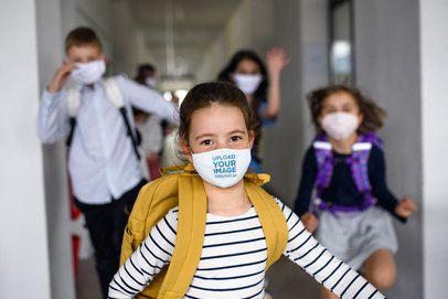 Face Mask Mockup of a Girl Running After School 39308-r-el2