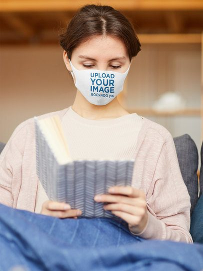 Face Mask Mockup Featuring a Woman Reading 39420-r-el2