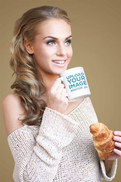 11 oz Mug Mockup of a Woman Eating a Croissant 40432-r-el2