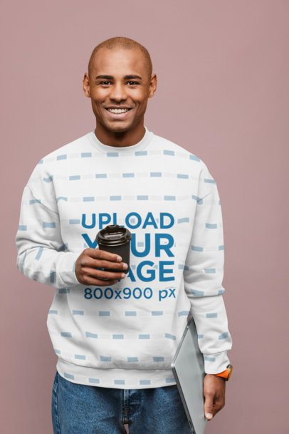 Sublimated Sweatshirt Mockup of a Happy Man Posing Against a Solid Color Backdrop 37669-r-el2