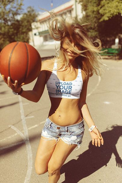 Sports Bra Mockup of a Woman Playing Basketball 35216-r-el2