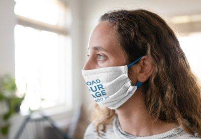 Face Mask Mockup Featuring a Woman at Home 40541-r-el2