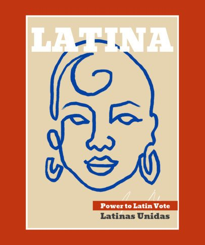 Illustrated T-Shirt Design Template to Empower Latinas 2476c-el1