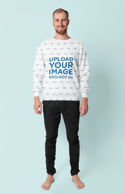 Sublimated Crewneck Sweatshirt Mockup of a Man in a Studio 40049-r-el2