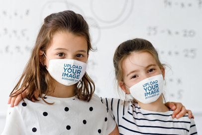 Face Mask Mockup Featuring Two Girls Standing in Front of a Whiteboard 39295-r-el2