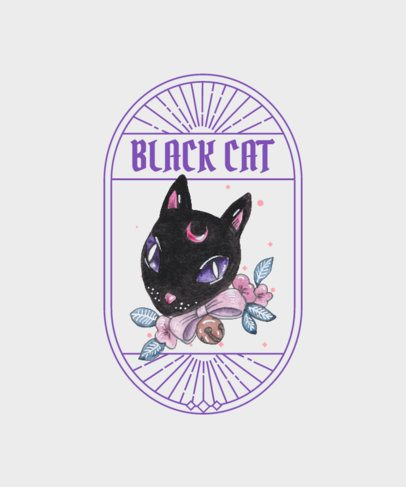 T-Shirt Design Maker with a Magic Black Cat Graphic with a Sweet Aesthetic 2513a-el1