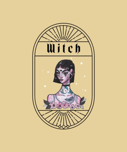 T-Shirt Design Generator with a Modern Witch Illustration 2513c-el1