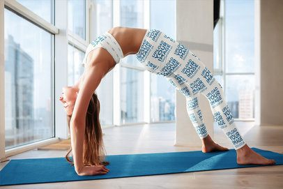 Mockup of a Woman Stretching in a Sports Bra and Leggings 35047-r-el2