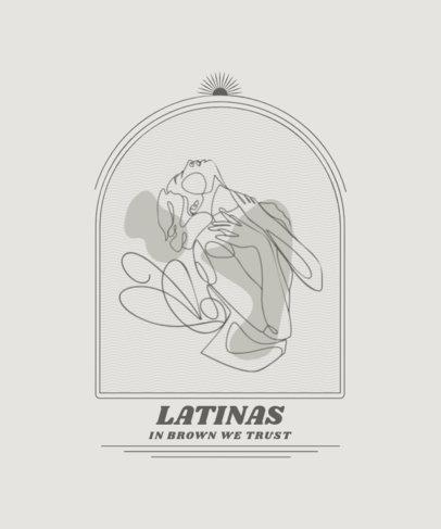 Single-Line T-Shirt Design Template Featuring a Hispanic Woman 2478d-el1
