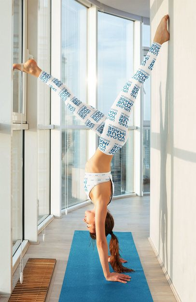 Sports Bra and Leggings Mockup of a Woman Doing a Handstand 35056-r-el2