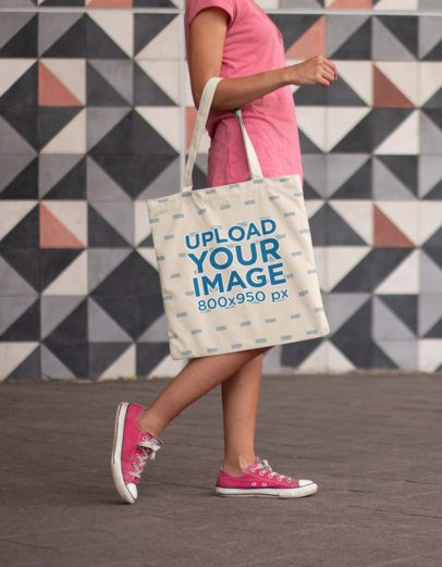 Tote Bag Mockup Carried by a Woman Walking 11451