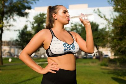 Plus-Size Sports Bra Mockup of an Active Woman Drinking Water 35038-r-el2