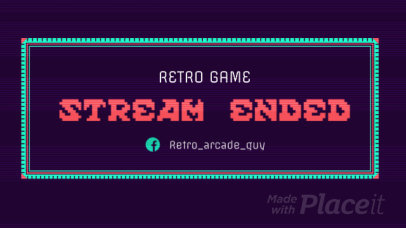 Twitch End Screen Video Template for Retro Gaming Channels Featuring Glitch Effects 766