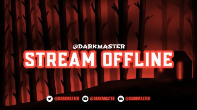 Illustrated Twitch Offline Banner Template Featuring a Spooky Forest Background 2796g