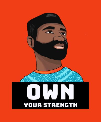 T-Shirt Design Generator Featuring an Illustration of a Proud Black Man 2799i