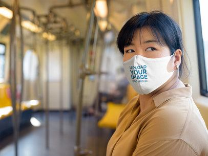 Face Mask Mockup of a Woman Riding a Train 40530-r-el2