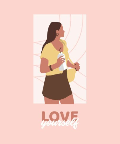 T-Shirt Design Maker Featuring a Woman and a Self-Love Quote 2480c-el1