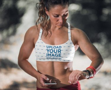 Sports Bra Mockup of an Athletic Woman About to Train 36357-r-el2