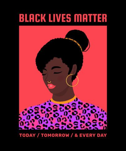 Illustrated T-Shirt Design Creator Featuring a BLM Message 2802a