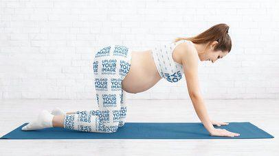 Sports Bra Mockup Featuring a Pregnant Woman Wearing Leggings 35140-r-el2