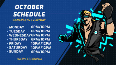 Twitch Banner Maker with a Streaming Schedule and Illustrated Characters 2811