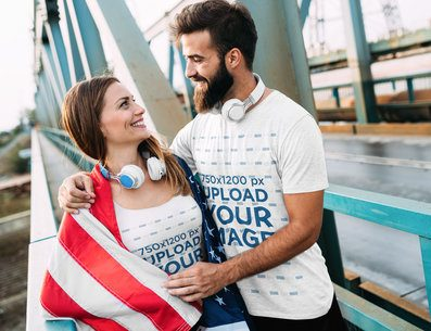 T-Shirt and Tank Top Mockup Featuring a Patriotic Couple 40605-r-el2
