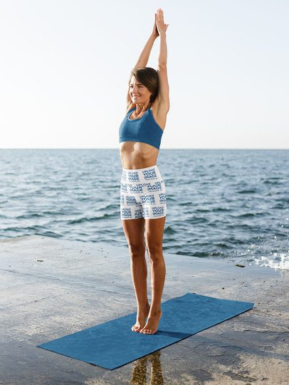 Bike Shorts Mockup of a Woman Doing Yoga by the Beach 41179-r-el2