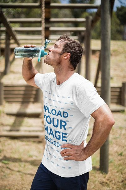T-shirt Mockup Featuring a Military Recruit Drinking Water 40617-r-el2