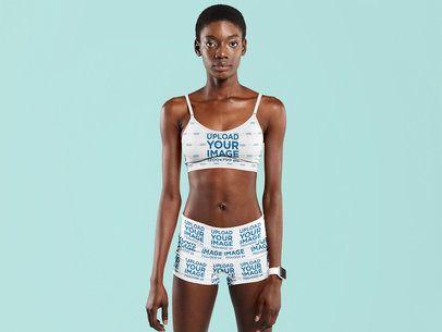Sports Bra Mockup of a Woman Wearing Sublimated Shorts at a Studio 41174-r-el2