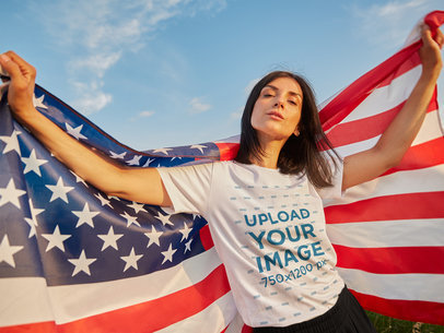 T-Shirt Mockup Featuring a Woman Posing with The American Flag 40884-r-el2