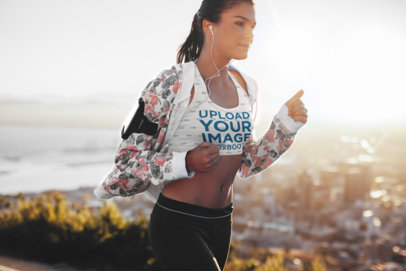 Sports Bra Mockup of a Woman Running on a Chilly Day 34787-r-el2