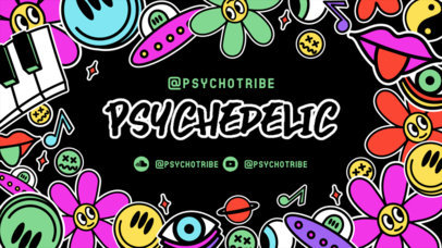 Twitch Banner Templates Featuring Psychedelic Stickers 2825