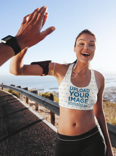 Sports Bra Mockup of a Happy Woman Giving a High Five to a Man 34790-r-el2