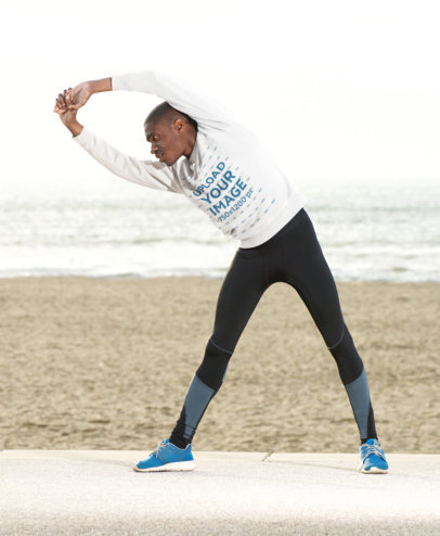 Sweatshirt Mockup of a Man Stretching by the Beach 38834-r-el2