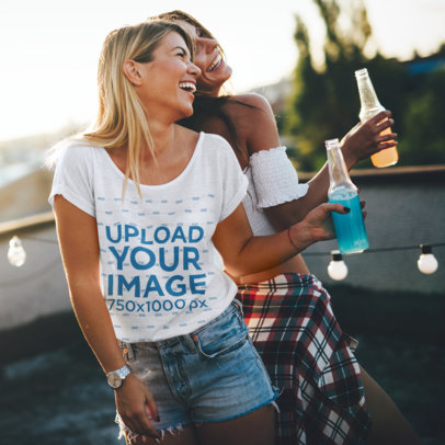 T-Shirt Mockup of a Woman Having Fun with Her Friend 40384-r-el2