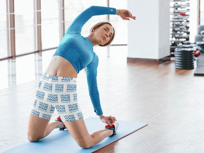 Bike Shorts Mockup of a Woman Exercising at the Gym 41511-r-el2