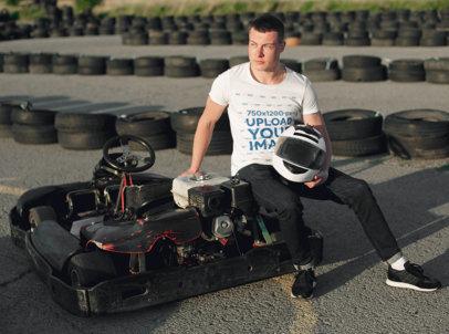 T-Shirt Mockup Featuring a Man and a Go-Kart 35922-r-el2