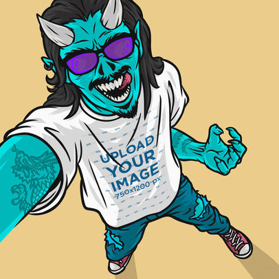 Illustrated Mockup of a Green Tattooed Demon Taking a Selfie While Wearing a T-Shirt 41149