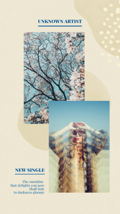 Instagram Story Generator for a Pop Music Artist's New Single Promo 2519b-el1