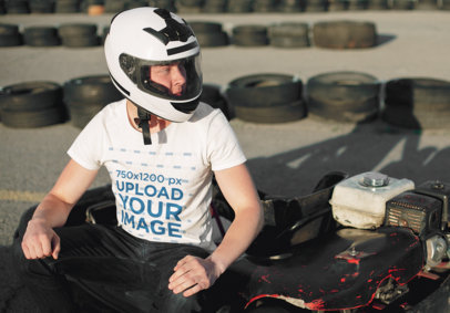 T-Shirt Mockup Featuring a Man About to Ride a Go-Kart 35923-r-el2
