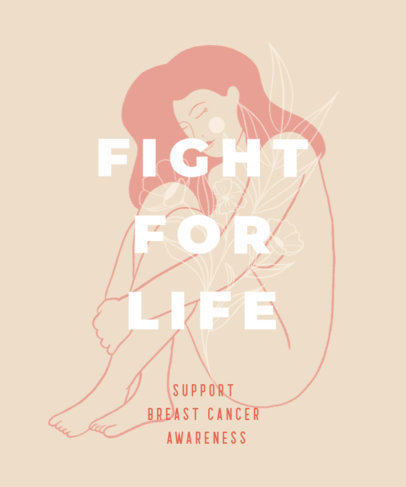 Illustrated T-Shirt Design Creator Featuring a Cancer Awareness Quote 2820f