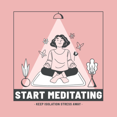 Instagram Post Creator Featuring an Illustration of a Woman Doing Yoga at Home 2590c-el1