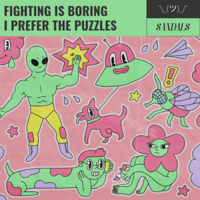 Album Cover Template Featuring Fictional Cartoon Characters 2814c
