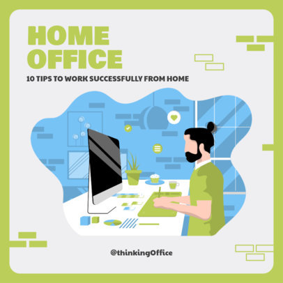 Instagram Post Template Featuring Work From Home Illustrations 2583-el1