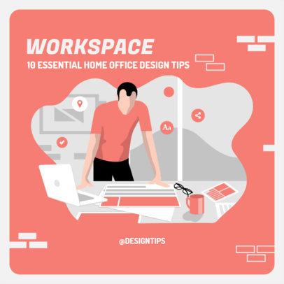 Instagram Post Maker with Illustrations of Home Office Design Tips 2583e-el1