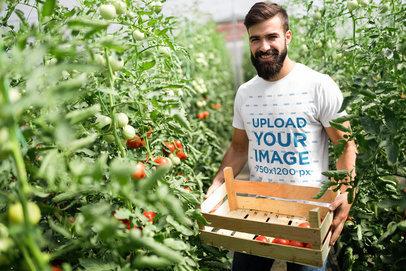 T-Shirt Mockup Featuring a Man Picking Tomatoes 40623-r-el2