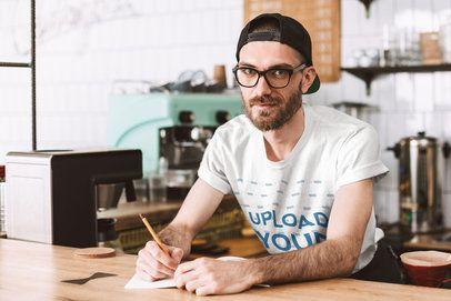 T-Shirt Mockup of a Hipster Barista Behind a Bar 37849-r-el2