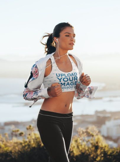 Sports Bra Mockup Featuring a Woman Running at a Stunning Landscape 34870-r-el2