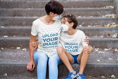 T-Shirt Mockup Featuring a Girl and Her Mother Wearing Face Masks 40474-r-el2