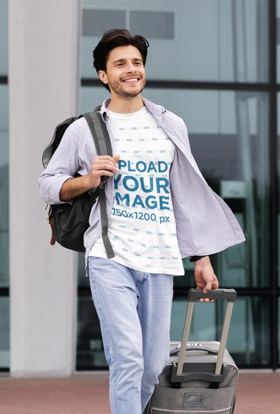 Mockup of a Man with a Crewneck Tee Walking with a Suitcase 40066-r-el2